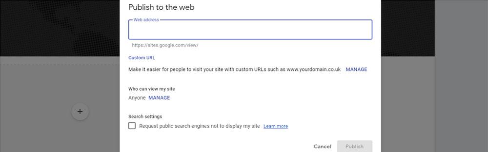 web address for publish