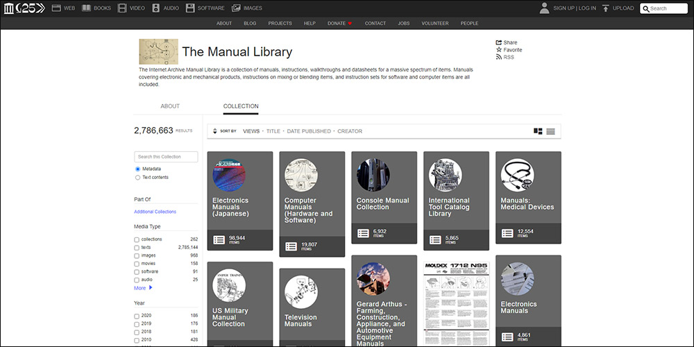 Internet Archive Manual Library